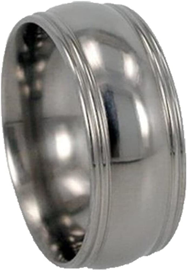Grooved Round Edged 8mm Comfort Fit Titanium Wedding Band, Size 13