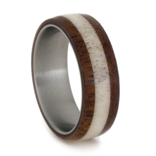 Mahogany, Deer Antler 7mm Comfort-Fit Matte Titanium Wedding Band