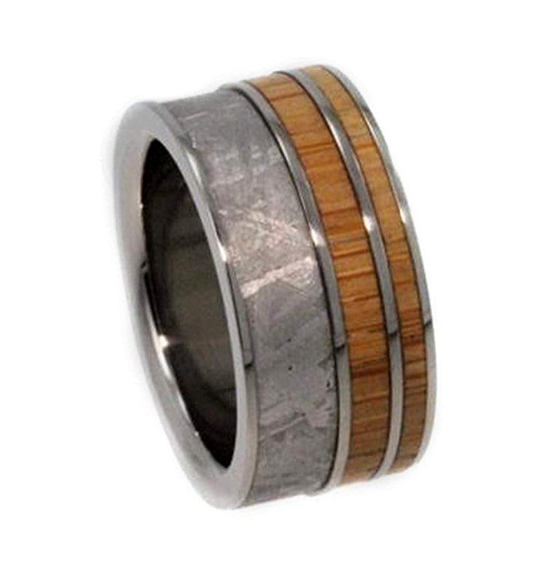 Gibeon Meteorite, Bamboo 9.5mm Comfort Fit Interchangeable Titanium Wedding Band, Size 15.75