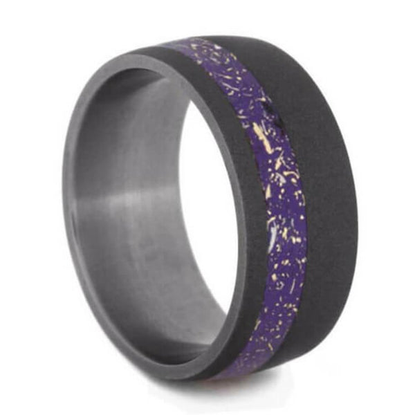 The Men's Jewelry Store (Unisex Jewelry) Purple Stardust Band with Meteorite and Yellow Gold 9mm Sandblasted Titanium Comfort-Fit Wedding Band