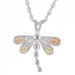 Petite Dragonfly Pendant Necklace, Sterling Silver, 12k Green and Rose Gold Black Hills Gold Motif, 18""