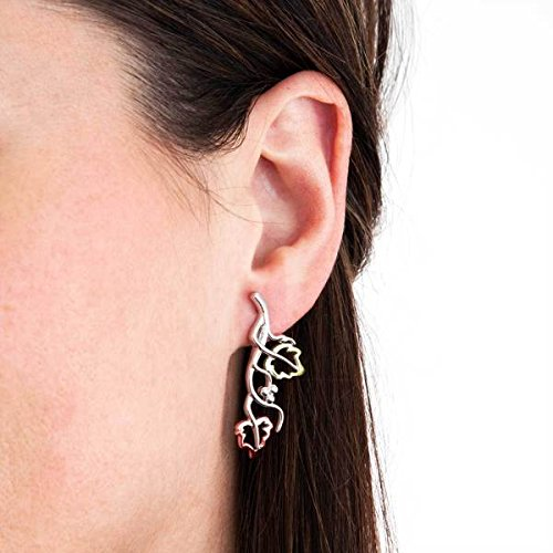 Cut-Out Grape Vine Dangle Earrings, Rhodium Plated Sterling Silver, 10k Green and Rose Gold
