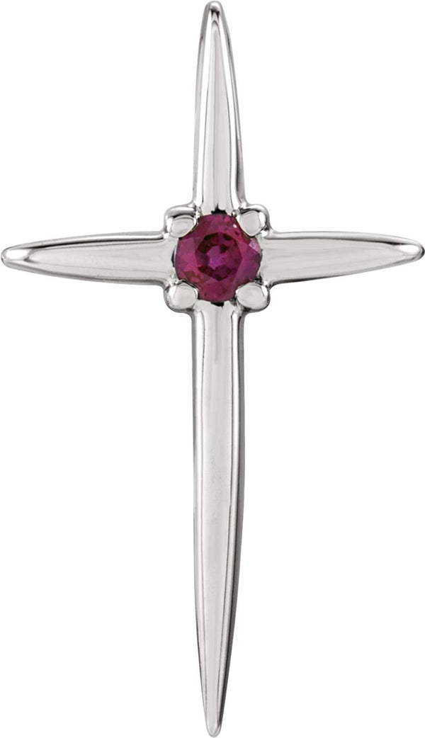 Solitaire Ruby Cross Rhodium-Plated 14k White Gold Pendant (17.75X10MM)