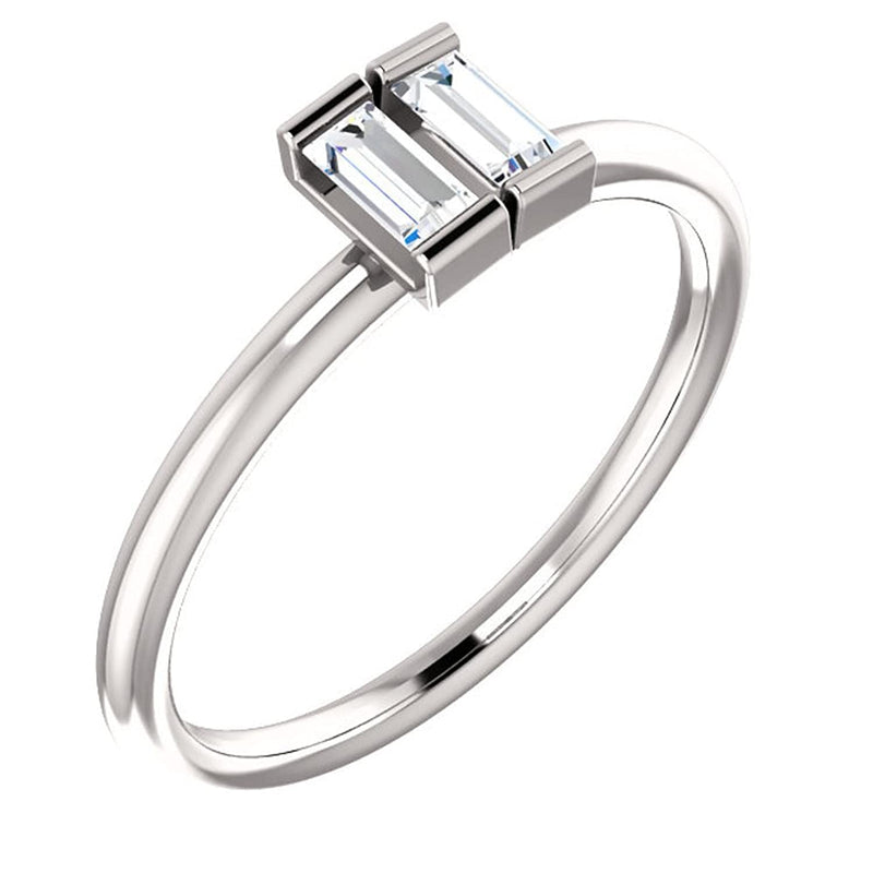 Diamond Two-Stone Ring, Rhodium-Plated 14k White Gold, Size 7 (.25 Ctw, G-H Color,I1 Clarity)