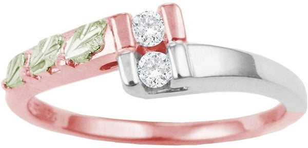 10k Rose Gold, Rhodium-Plated Sterling Silver Bypass CZ 12k Green Gold Black Hills Gold Grape Leaves Ring