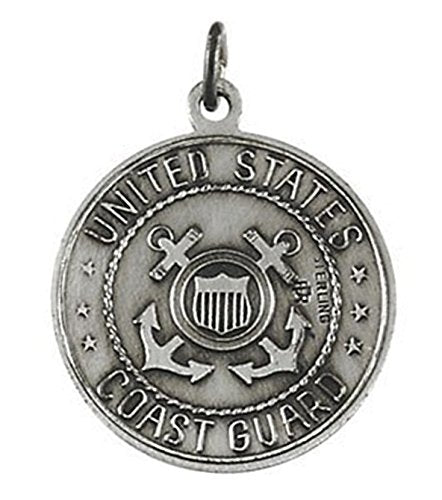 U.S. Coast Guard Sterling Silver Saint Christopher Protect Us Medal Necklace, 18""