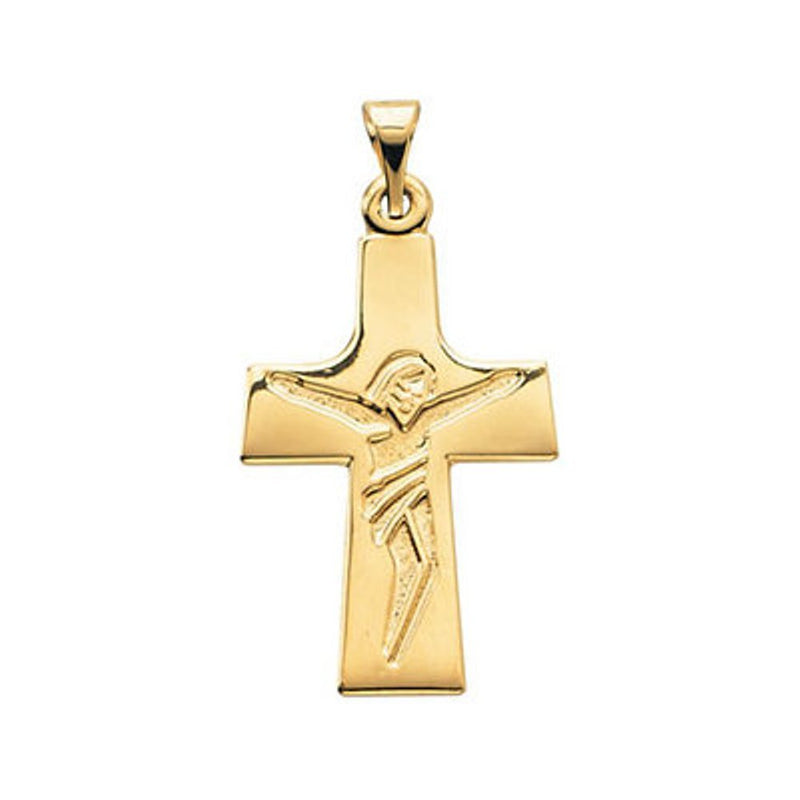Engraved Crucifix 14k Yellow Gold Pendant (30.34X16MM)