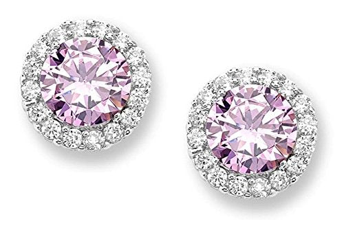 Pink CZ Halo Rhodium Plated Sterling Silver Stud Earrings