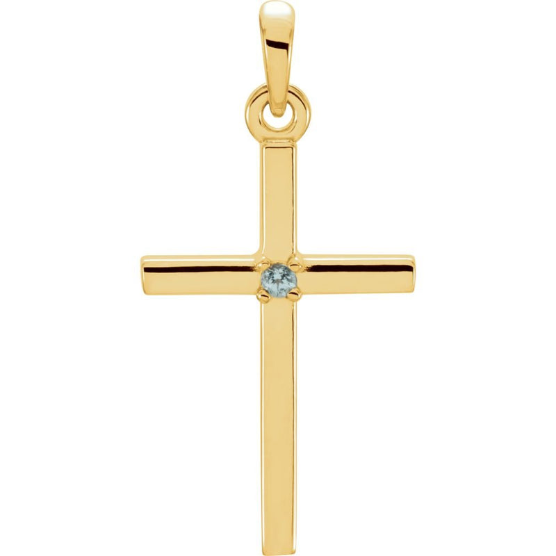 Blue Zircon Inset Cross 14k Yellow Gold Pendant (22.65x11.4MM)