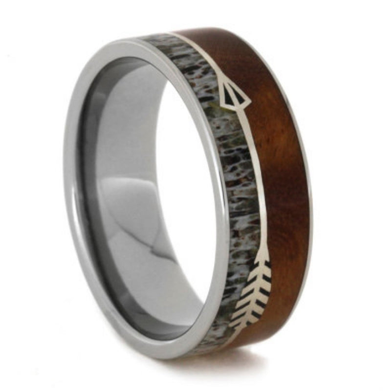 Native American Arrow, Ironwood Burl and Antler 8mm Comfort-Fit Titanium Band