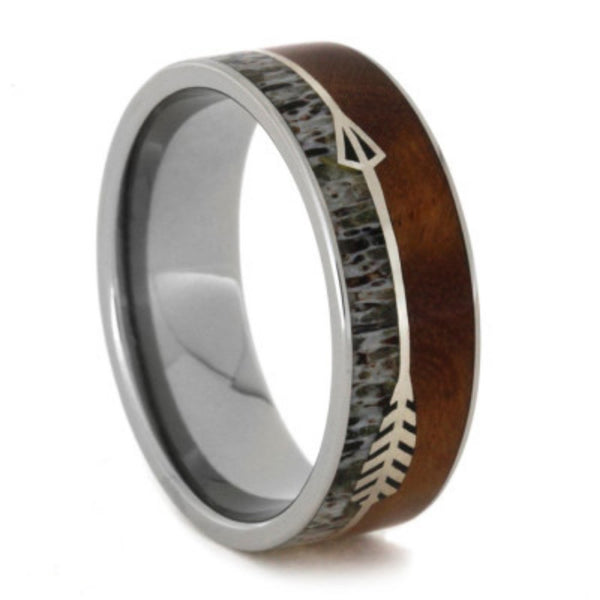 The Men's Jewelry Store (Unisex Jewelry) Ironwood Burl, Antler Deer, Silver Arrow 8mm Comfort-Fit Titanium Band