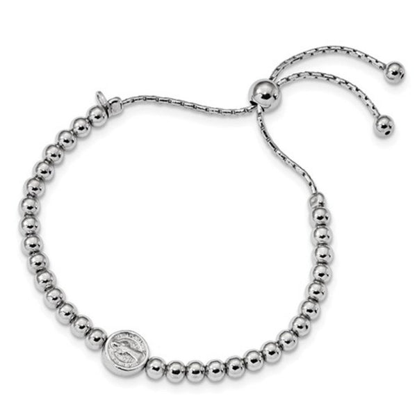 Rhodium-Plated Sterling Silver Saint Medal Beaded Adjustable Bracelet, 9""