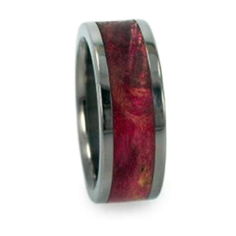 Magenta Burl Inlay 8mm Comfort-Fit Titanium Interchangeable Band, Size 10