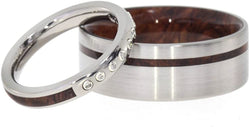 9-Stone Diamond Honduran Rosewood Burl Titanium Band, Honduran Rosewood Burl Wood Band, Couples Wedding Set, M15-F4.5