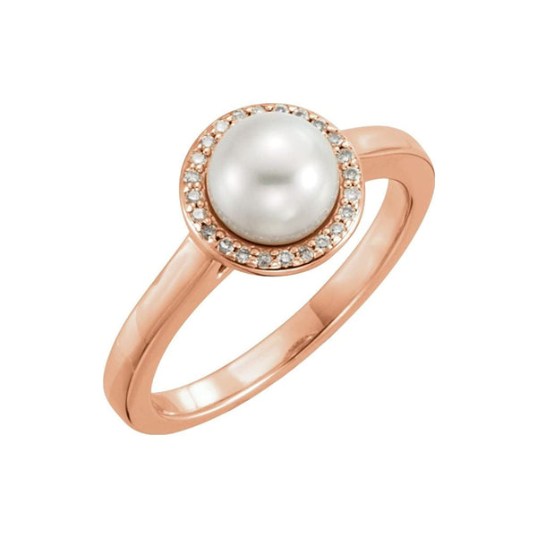 White Freshwater Cultured Pearl and Diamond Halo Ring, 14k Rose Gold (6.5-7mm) (.06Ctw, G-H Color, I1 Clarity)