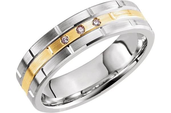 Men's Diamond Grooved 6mm Comfort-Fit Band, 14k White and Yellow Gold, (.03 Ctw) Size 11