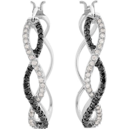 14k White Gold Black and White Diamond Intinity Hoop Earrings (1/2 Ctw, Color GH, Clarity I1)