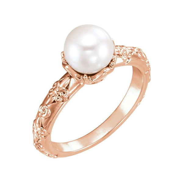 White Freshwater Cultured Pearl, Diamond Vintage Ring, 14k Rose Gold (7-7.5 mm)(.02 Ctw, G-H Color, I1 Clarity)