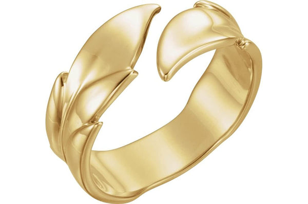 Bypass Rose Leaf Ring, 14k Yellow Gold, Size 5.25