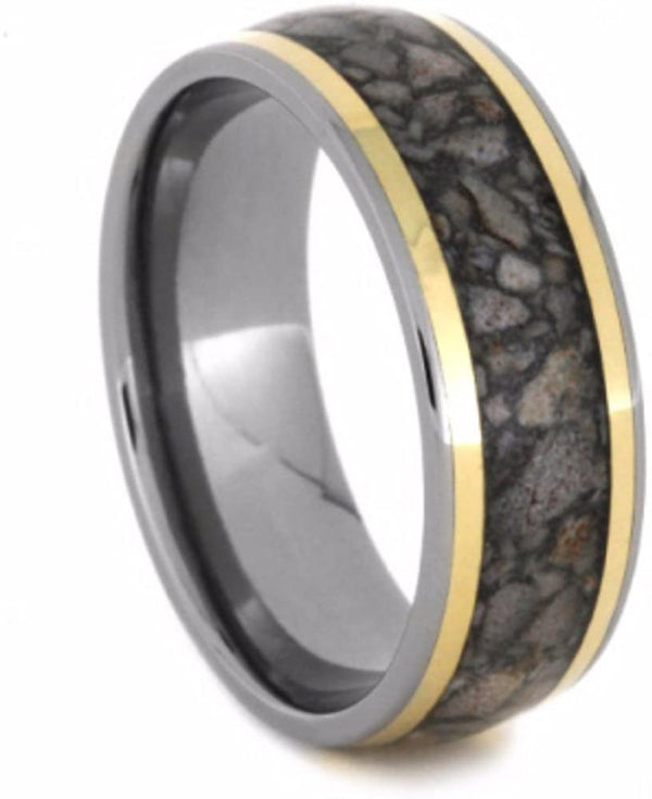 Antler, 14k Yellow Gold Pinstripe 8mm Comfort-Fit Titanium Wedding Band, Size 4