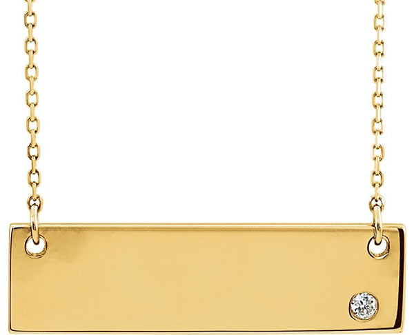 "Diamond Bar Necklace, 18k Yellow Gold Plated Sterling Silver 18""( .03 Ct, Color G-H, I1 Clarity)"