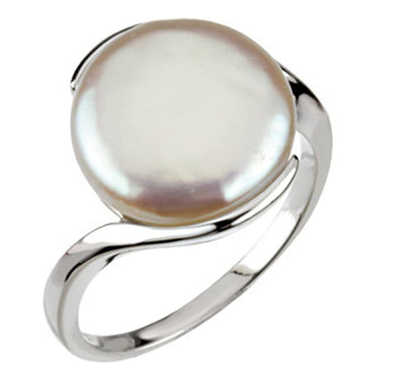 White Freshwater Cultured Coin Pearl Ring, Sterling Silver (13-14mm)