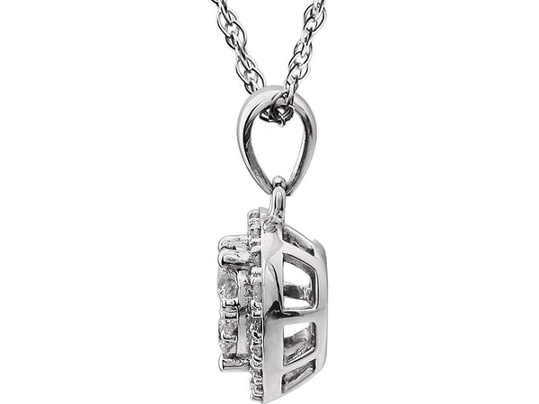 "Diamond Heart Halo Cluster 14K White Gold Pendant Necklace, 18"" (3/8 Cttw)"