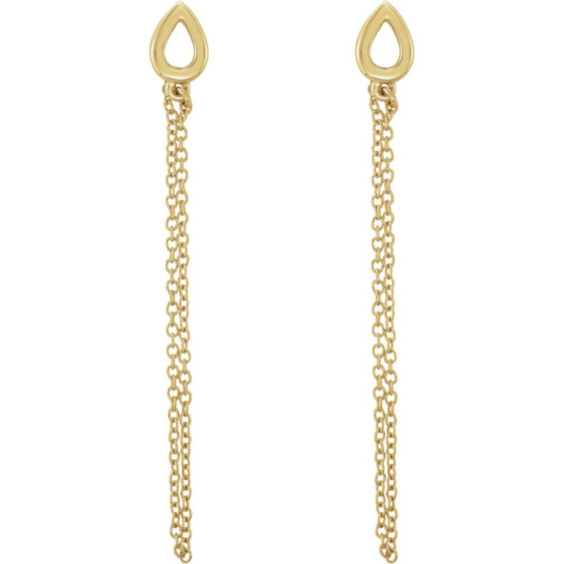 Petite Leaf Chain Dangle Earrings, 14k Yellow Gold