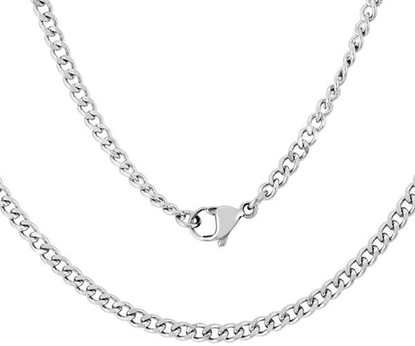 "Men's Stainless Steel Curb Chain, 20"" (3mm)"