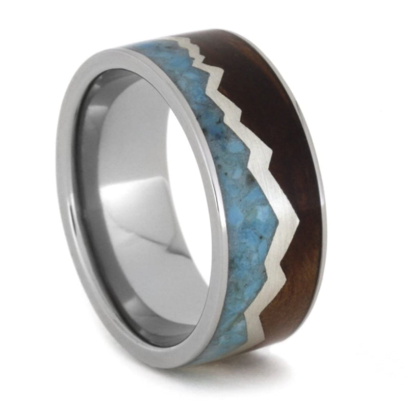 Redwood Mountain Design, Turquoise Sky, Sterling Silver 9mm Comfort-Fit Titanium Wedding Band