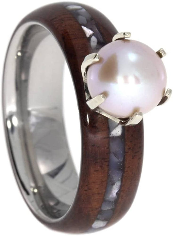 Freshwater Pink Pearl, Bolivian Rosewood, Mother of Pearl 6.5mm Comfort Fit Titanium Engagement Ring, Size 11.75