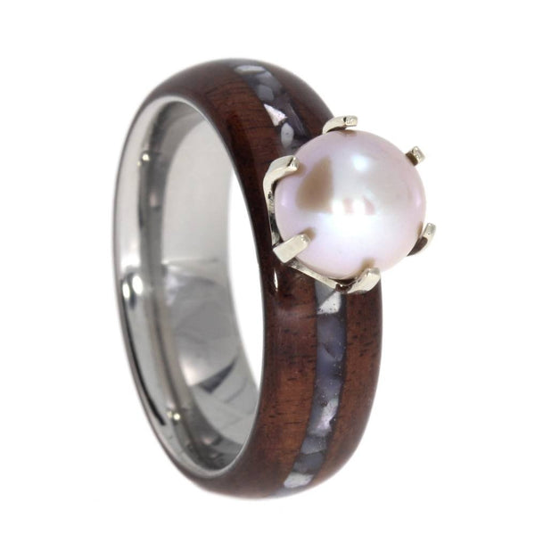 Freshwater Pink Pearl, Bolivian Rosewood, Mother of Pearl 6.5mm Comfort Fit Titanium Engagement Ring