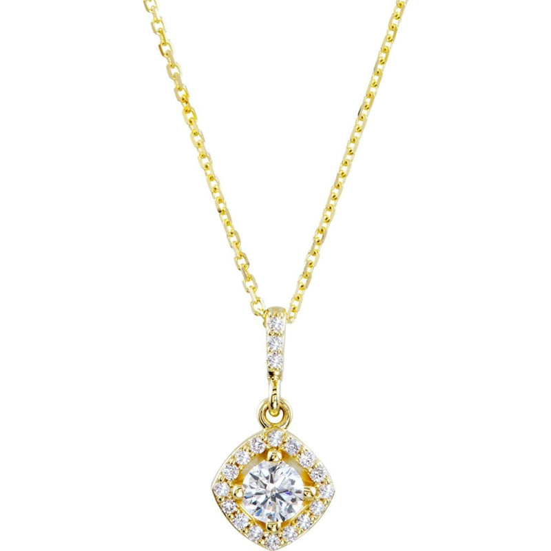 "Diamond Halo Pendant Necklace in 14k Yellow Gold, 18"" (3/8 Cttw)"