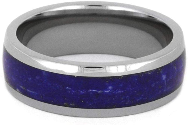 Lapis Lazuli Comfort-Fit Titanium His and Hers Wedding Bands
