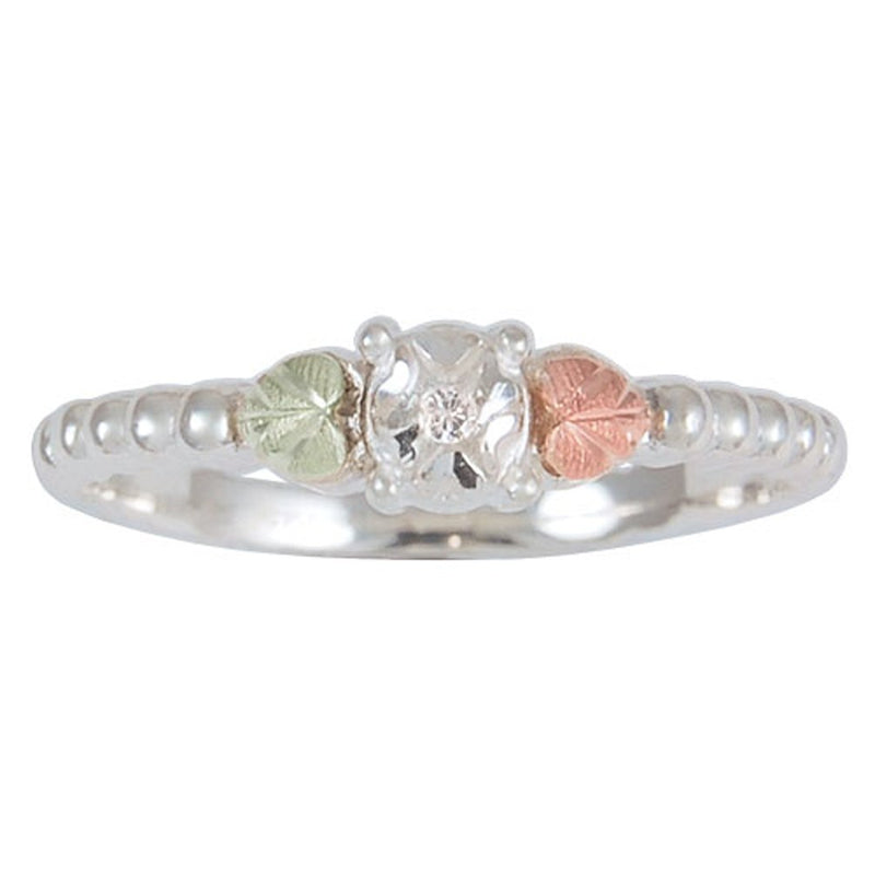 Diamond Illusion Granulated Petite Band, Sterling Silver, 12k Rose Gold, 12k Green Gold Black Hills Gold Motif, Size 10