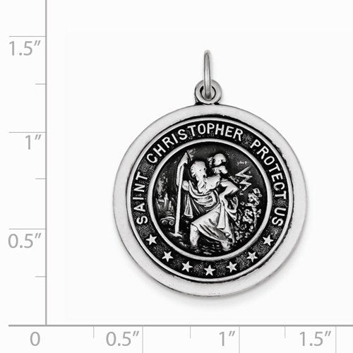 Sterling Silver St. Christopher Medal (32X25MM)