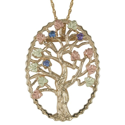 Sapphire, Amethyst and Aquamarine Tree Pendant Necklace, 10k Yellow Gold, 12k Green and Rose Gold Black Hills Gold Motif, 18""