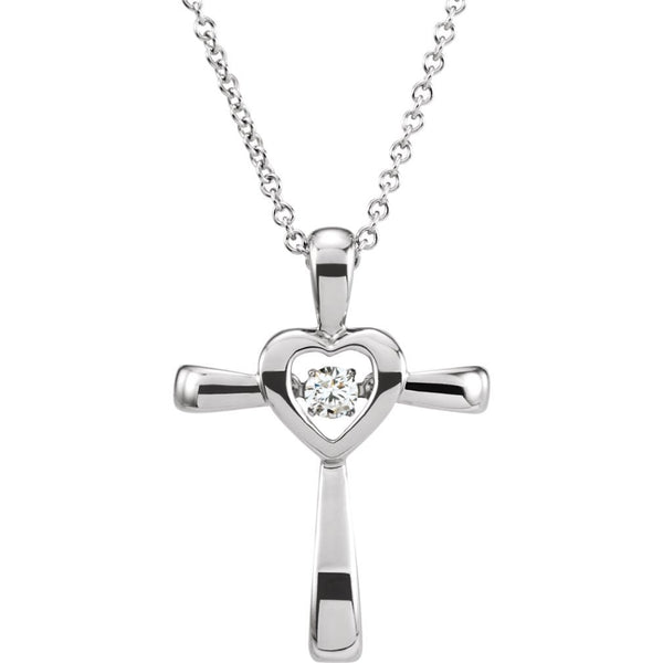 "Mystara Diamond Heart Cross Rhodium Plate 14k White Gold Pendant Necklace, 18"" (.08 Cttw)"