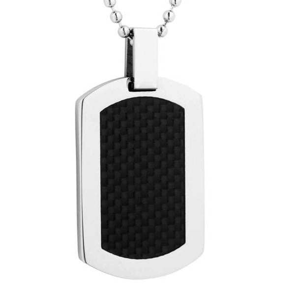 Men's High Polish Finish Carbon Fiber Dog Tag Pendant Necklace, Stainless Steel, 24""