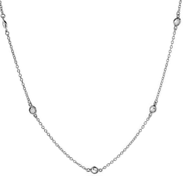 14k White Gold Cubic Zirconia Station Necklace, 18""