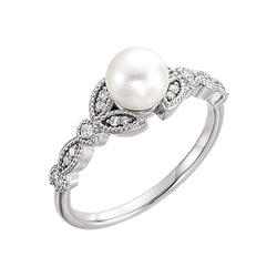 White Freshwater Cultured Pearl, Diamond Leaf Ring, Rhodium-Plated 14k White Gold (6-6.5mm)( .125 Ctw, Color G-H, Clarity I1) Size 8