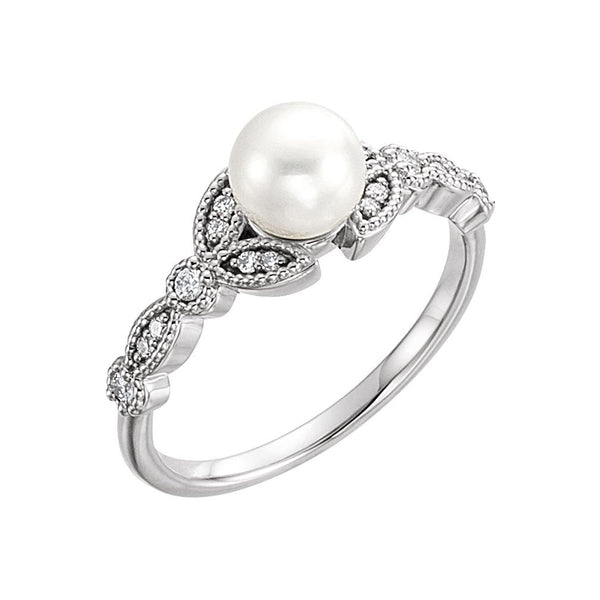 White Freshwater Cultured Pearl, Diamond Leaf Ring, Sterling Silver (6-6.5mm)( .125 Ctw, Color G-H, Clarity I1) Size 7
