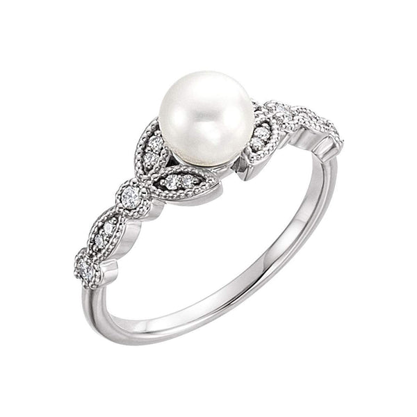 Platinum White Freshwater Cultured Pearl, Diamond Leaf Ring (6-6.5mm)( .125 Ctw, Color G-H, Clarity SI2-SI3) Size 7