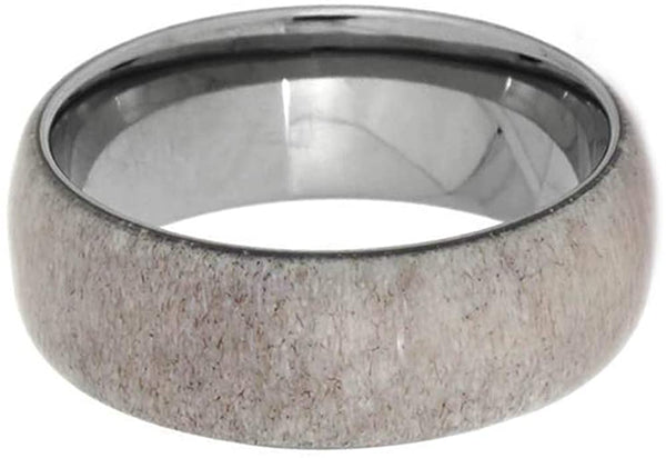 Deer Antler 8mm Comfort Fit Dome Titanium Band, Size 5.75