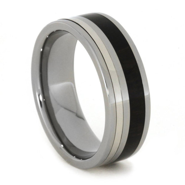 Ziricote Wood 10k White Gold, Ziricote Wood 8mm Comfort-Fit Titanium Wedding Band