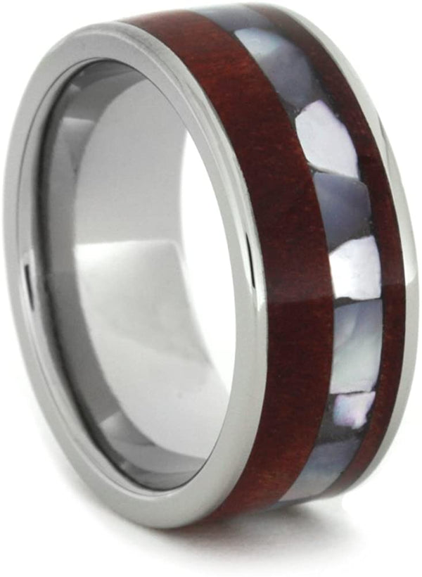 Ruby Redwood, Mother of Pearl 8mm Comfort-Fit Titanium Wedding Band, Size 6.75