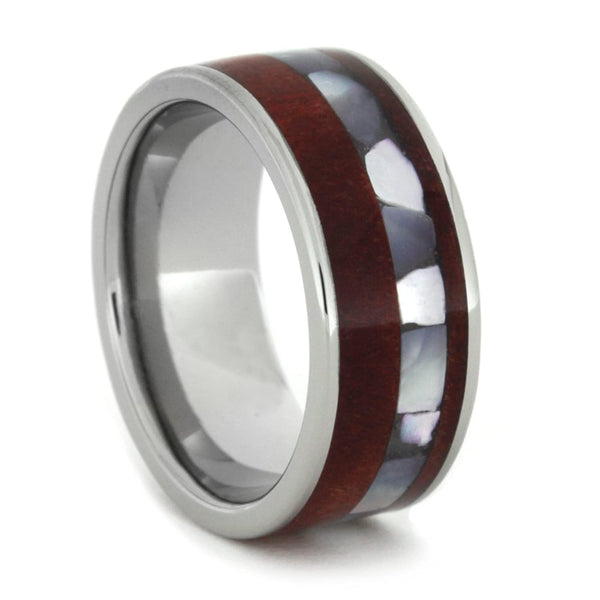 The Men's Jewelry Store (Unisex Jewelry) Ruby Redwood, Mother of Pearl 8mm Comfort-Fit Titanium Wedding Band