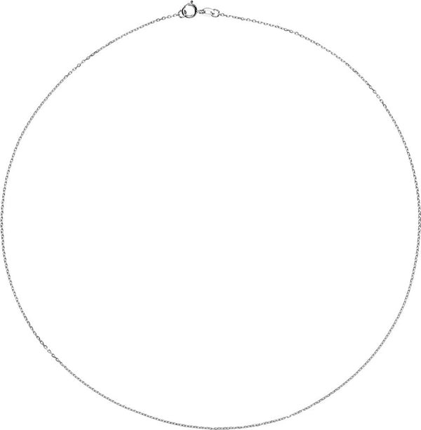 Sterling Silver 1mm Solid Diamond-Cut Cable Chain Necklace