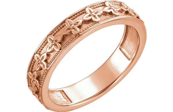 Vintage-Style Floral Brocade 4.5mm Stackable Ring, 14k Rose Gold, Size 7