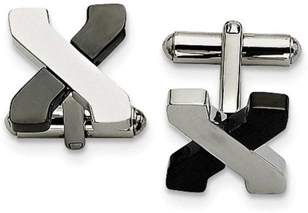 Black IP and Polished Stainless Steel Cross Cuff Links, 15MM